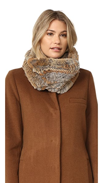 Adrienne Landau Knit Goma Fur Cowl Scarf - Brown Goma at Shopbop