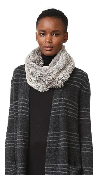 Adrienne Landau Knit Goma Fur Cowl Scarf - Grey Goma at Shopbop