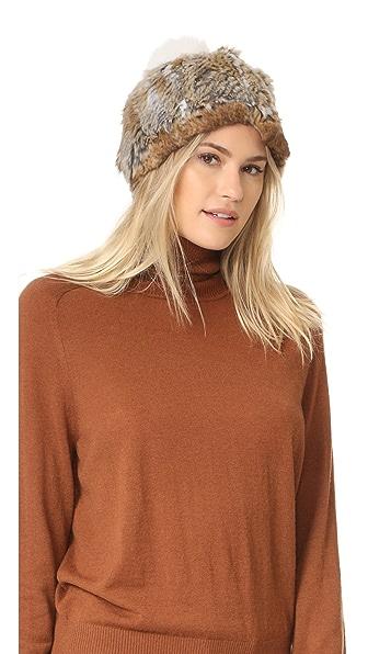 Adrienne Landau Knit Fur Hat With Fur Pom - Brown Goma at Shopbop