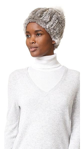 Adrienne Landau Knit Fur Hat With Fur Pom - Grey Goma at Shopbop