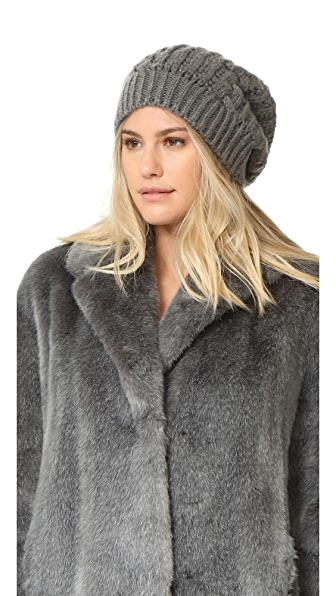 Adrienne Landau Cable Knit Slouch Hat With Fur Pom - Grey at Shopbop