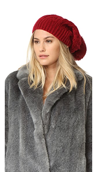 Adrienne Landau Cable Knit Slouch Hat With Fur Pom - Red at Shopbop