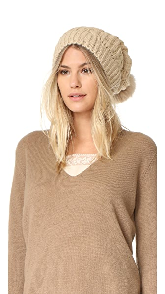 Adrienne Landau Cable Knit Slouch Hat With Fur Pom - Beige at Shopbop