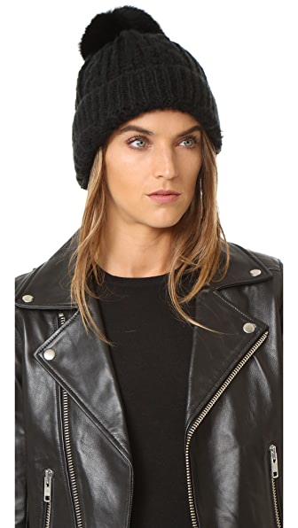 Adrienne Landau Cable Knit Slouch Hat With Fur Pom - Black at Shopbop