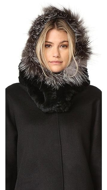 Adrienne Landau Rex Fur Hood with Fur Trim