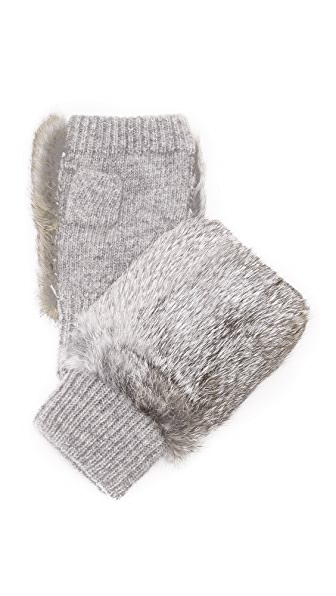 Adrienne Landau Knit Fingerless Mittens With Fur Trim - Light Grey at Shopbop