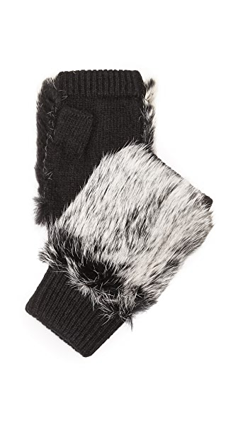 Adrienne Landau Knit Fingerless Mittens With Fur Trim - Black at Shopbop