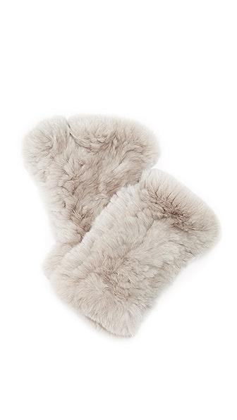 Adrienne Landau Rex Fur Fingerless Mittens - Light Grey at Shopbop