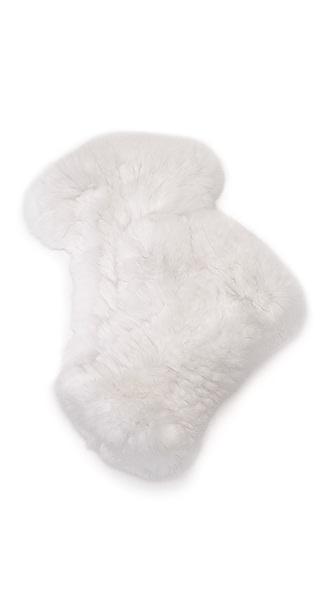 Adrienne Landau Rex Fur Fingerless Mittens - White at Shopbop