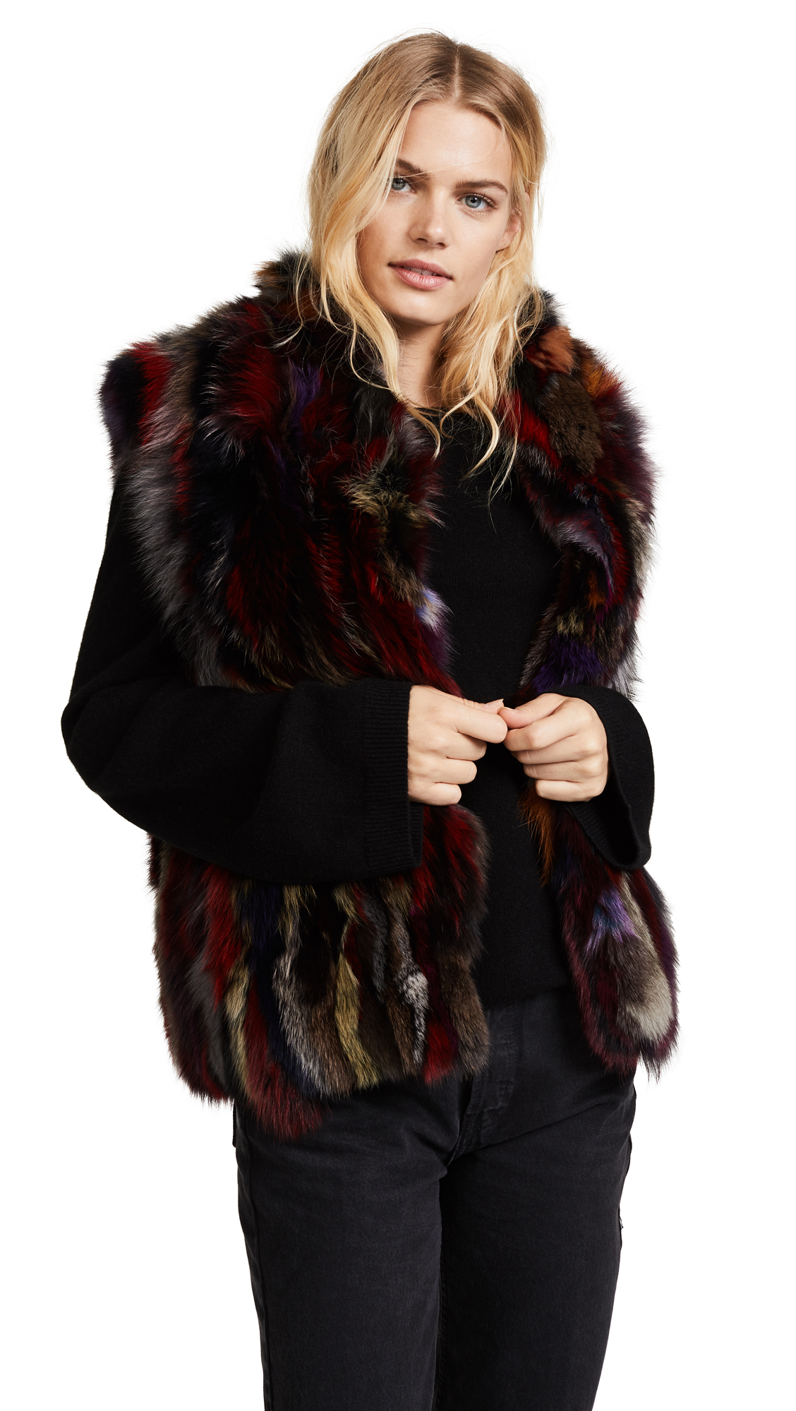 Adrienne Landau Multi Fox Vest - Multi