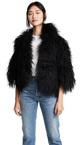 Adrienne Landau Mongolian Lamb Jacket In Black