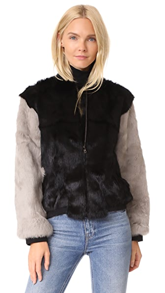 Adrienne Landau Rabbit Varsity Jacket In Black/Grey