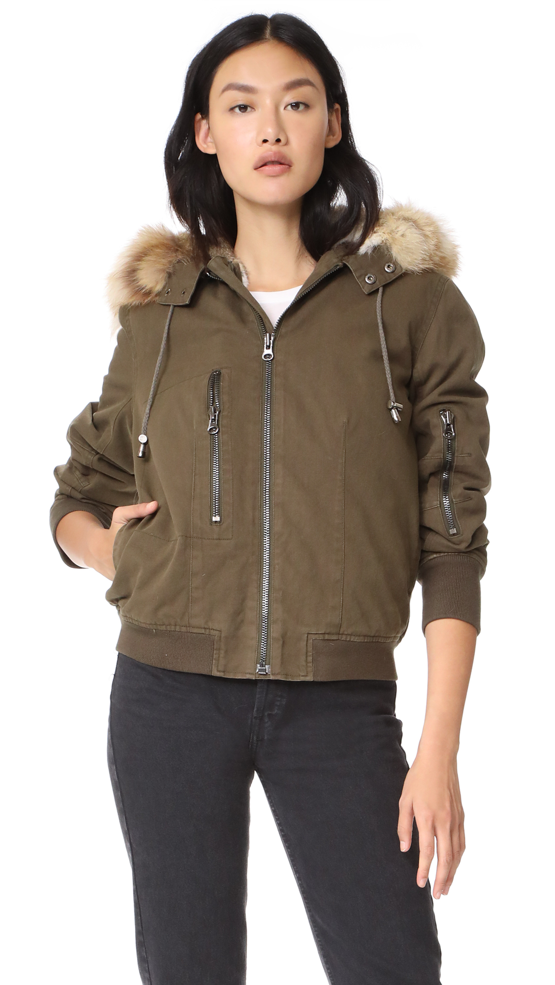Adrienne Landau Fur Lined Canvas Bomber - Green