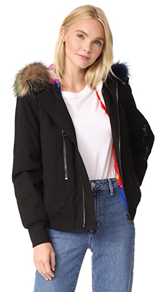 Adrienne Landau Hooded Bomber Jacket with Fur Lining In Black/Multi