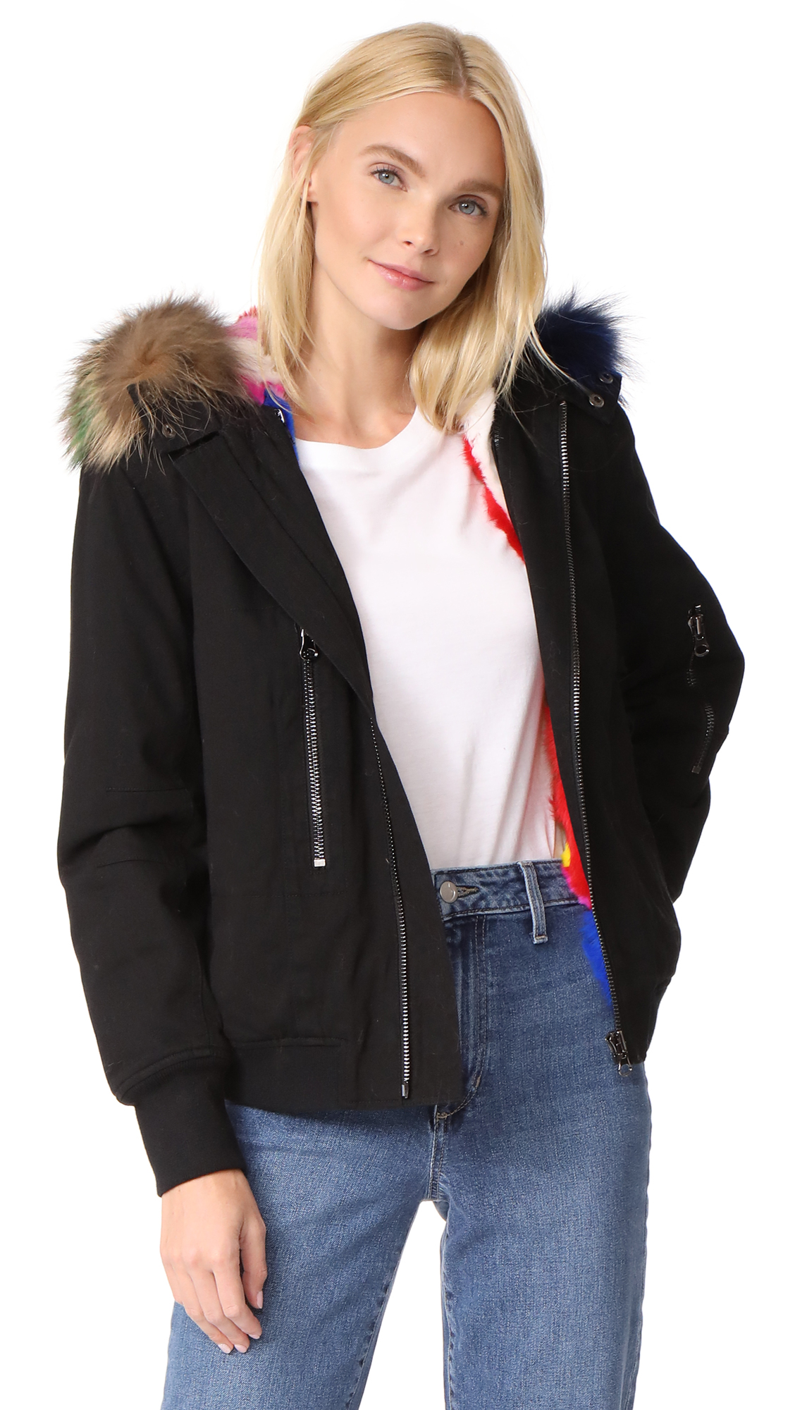 Adrienne Landau Hooded Bomber Jacket with Fur Lining - Black/Multi