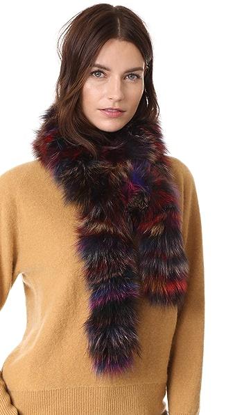 Adrienne Landau Fox Fur Boa Scarf In Multi-N