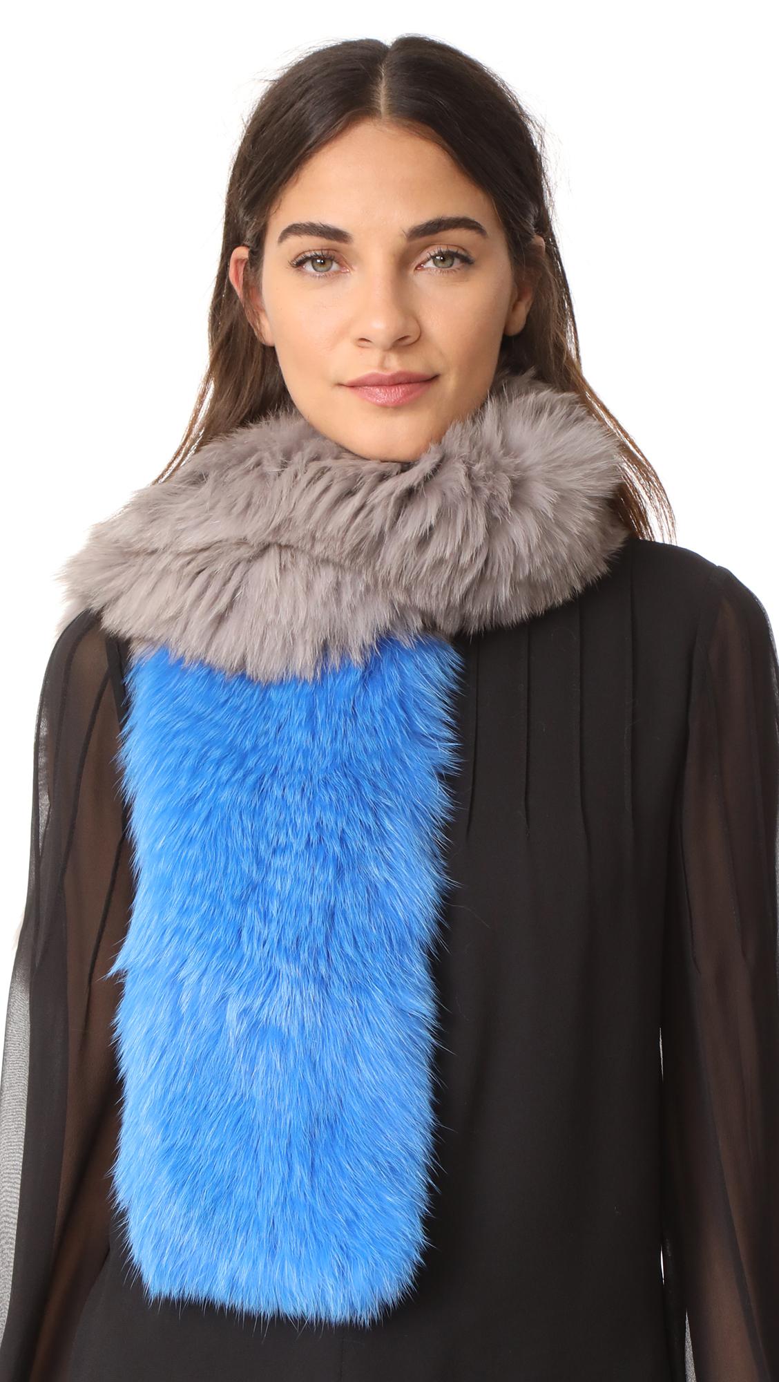 Adrienne Landau Two Tone Knit Fox Fur Scarf - Grey Blue
