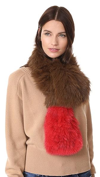 Adrienne Landau Two Tone Knit Fox Fur Scarf