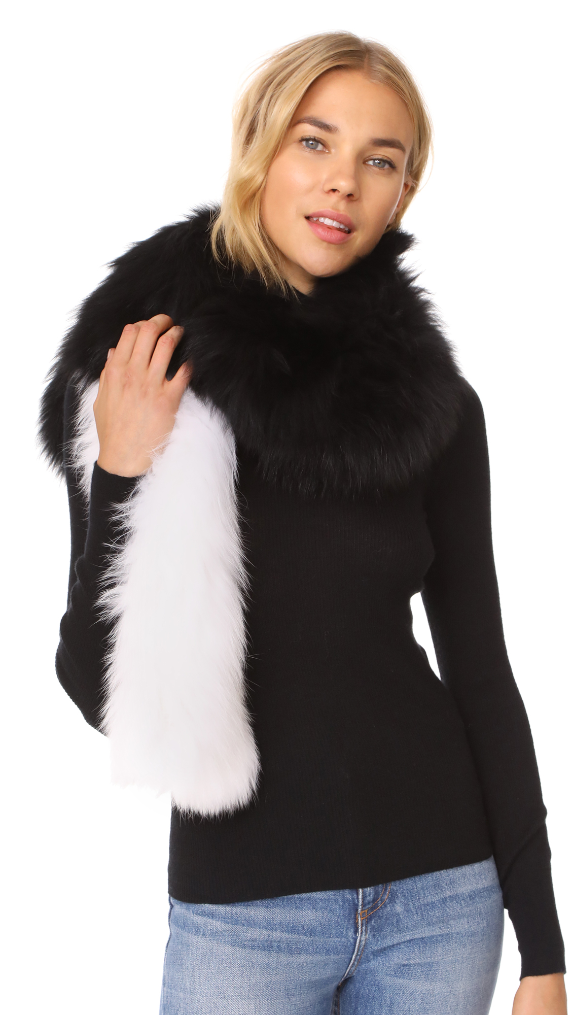 Adrienne Landau Two Tone Knit Fox Fur Scarf - Black/White