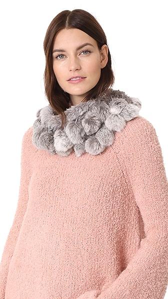 Adrienne Landau Rabbit Cowl Scarf with Fur Pom Pom at Shopbop