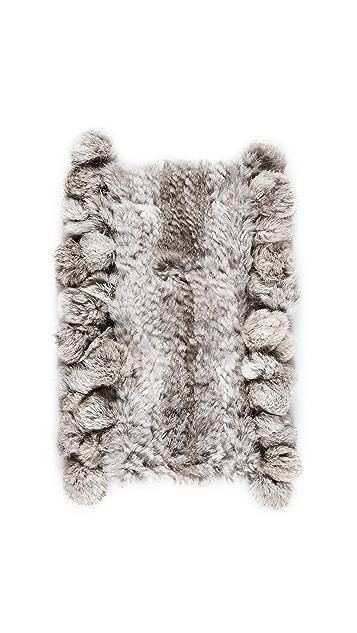 Adrienne Landau Rabbit Cowl Scarf with Fur Pom Pom
