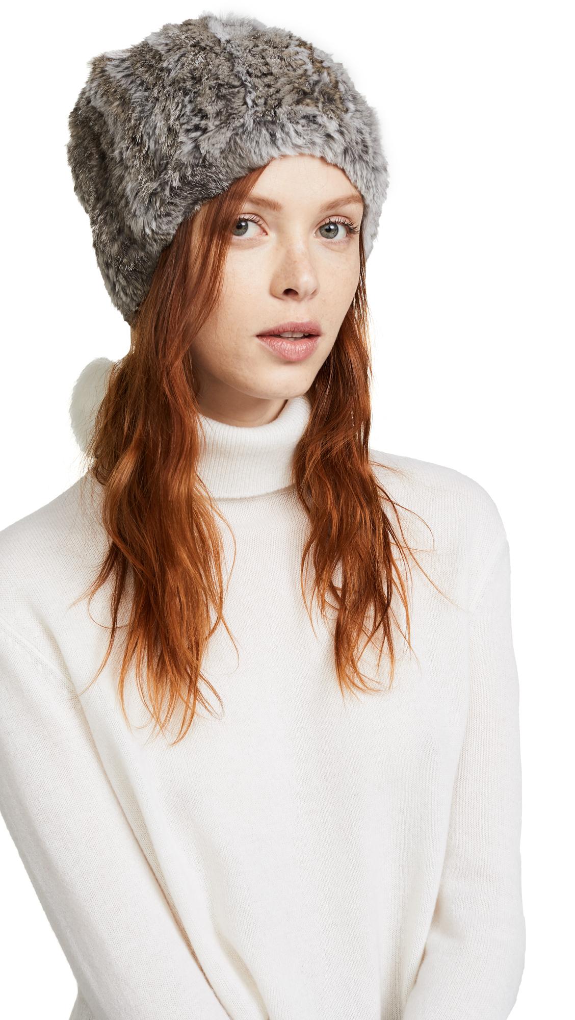 Adrienne Landau Fur Pom Pom Hat - Grey/White