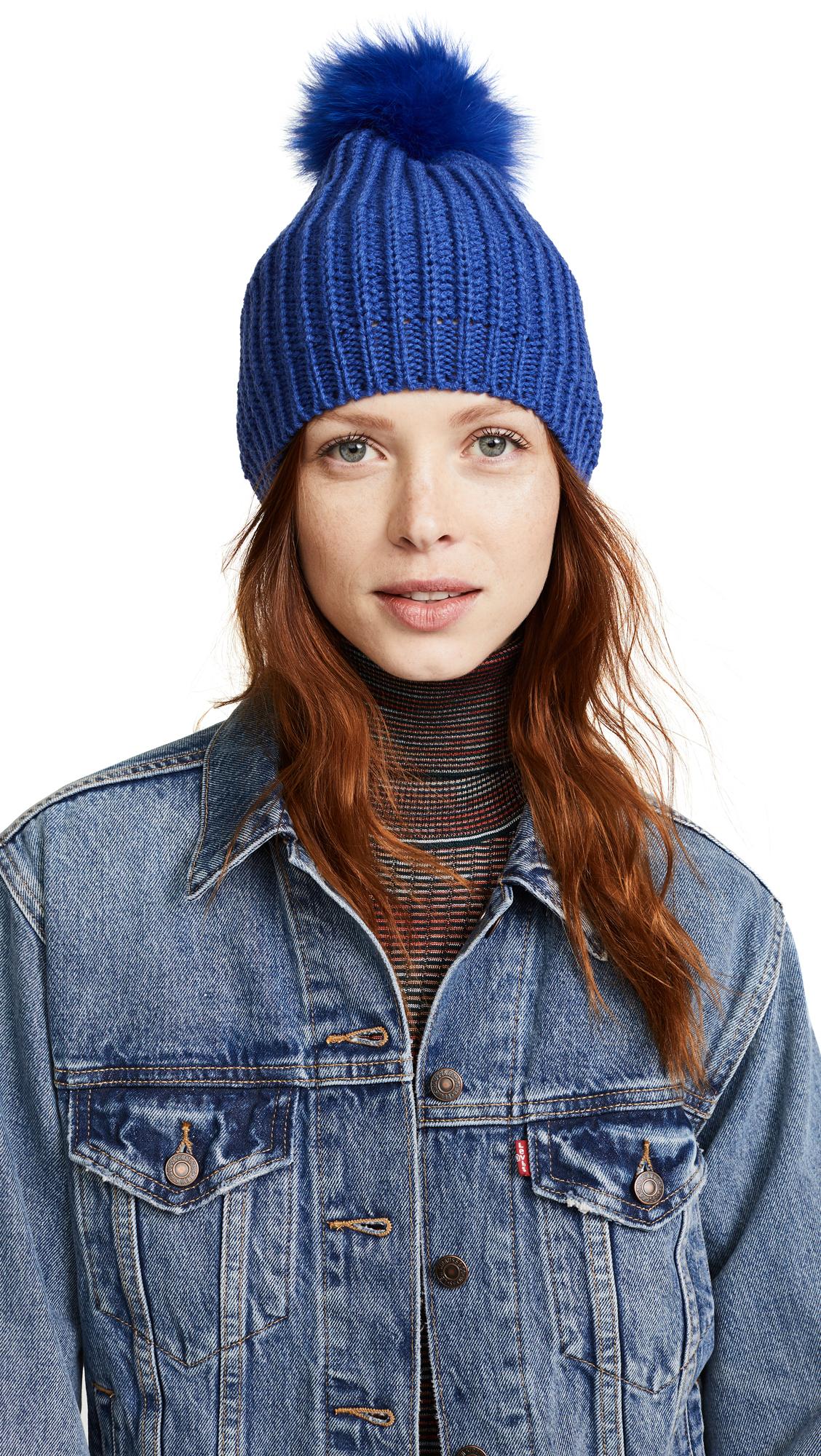 Adrienne Landau Knit Hat with Fox Fur Pom Pom - Royal