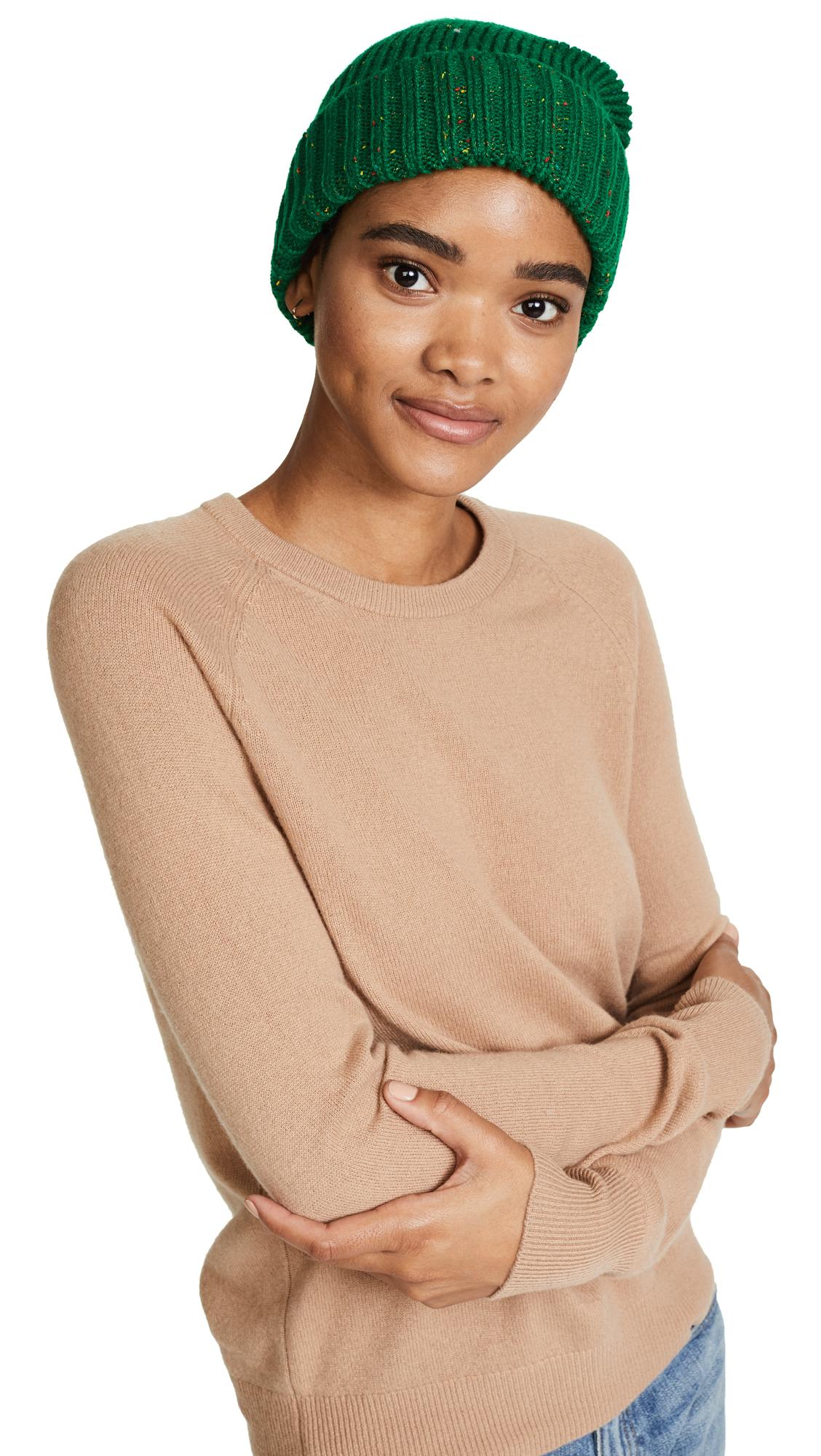 Adrienne Landau Knit Hat with Fur Pom Pom - Green