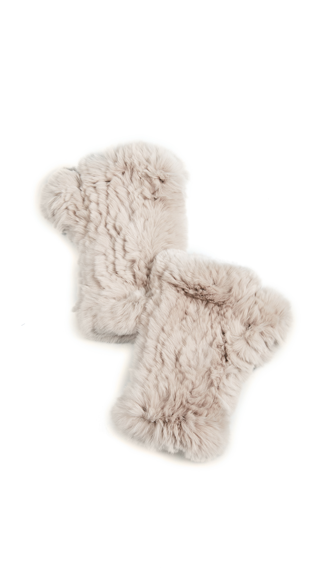 Adrienne Landau Rex Rabbit Fur Fingerless Gloves - Light Grey