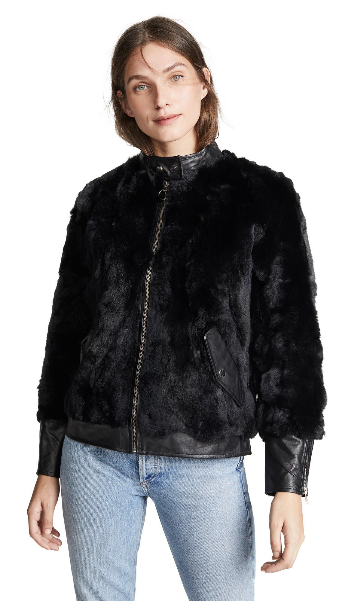 ADRIENNE LANDAU Fur Bomber With Leather Trim in Black