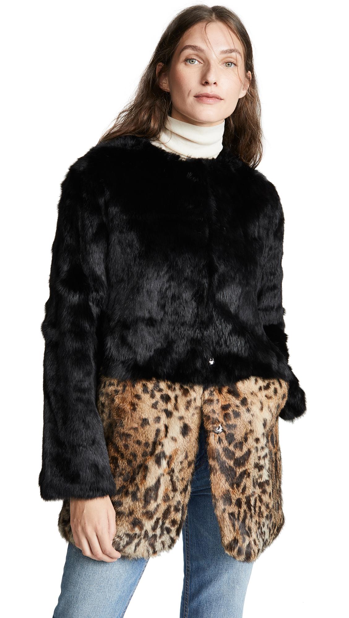ADRIENNE LANDAU Leopard Combo Fur Coat in Lynx/Black