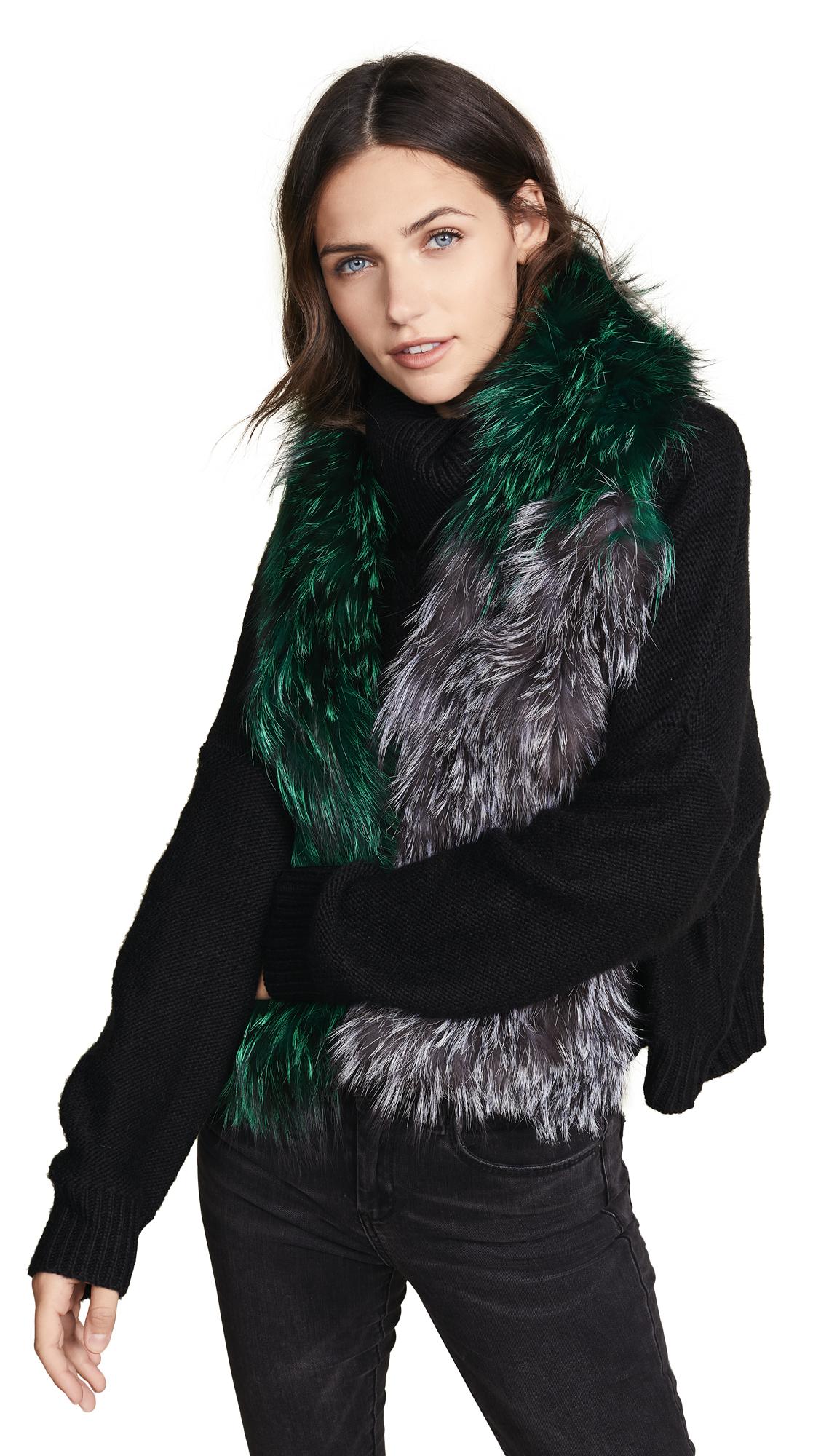 ADRIENNE LANDAU Knit Fur Scarf in Grey/Emerald/Silver