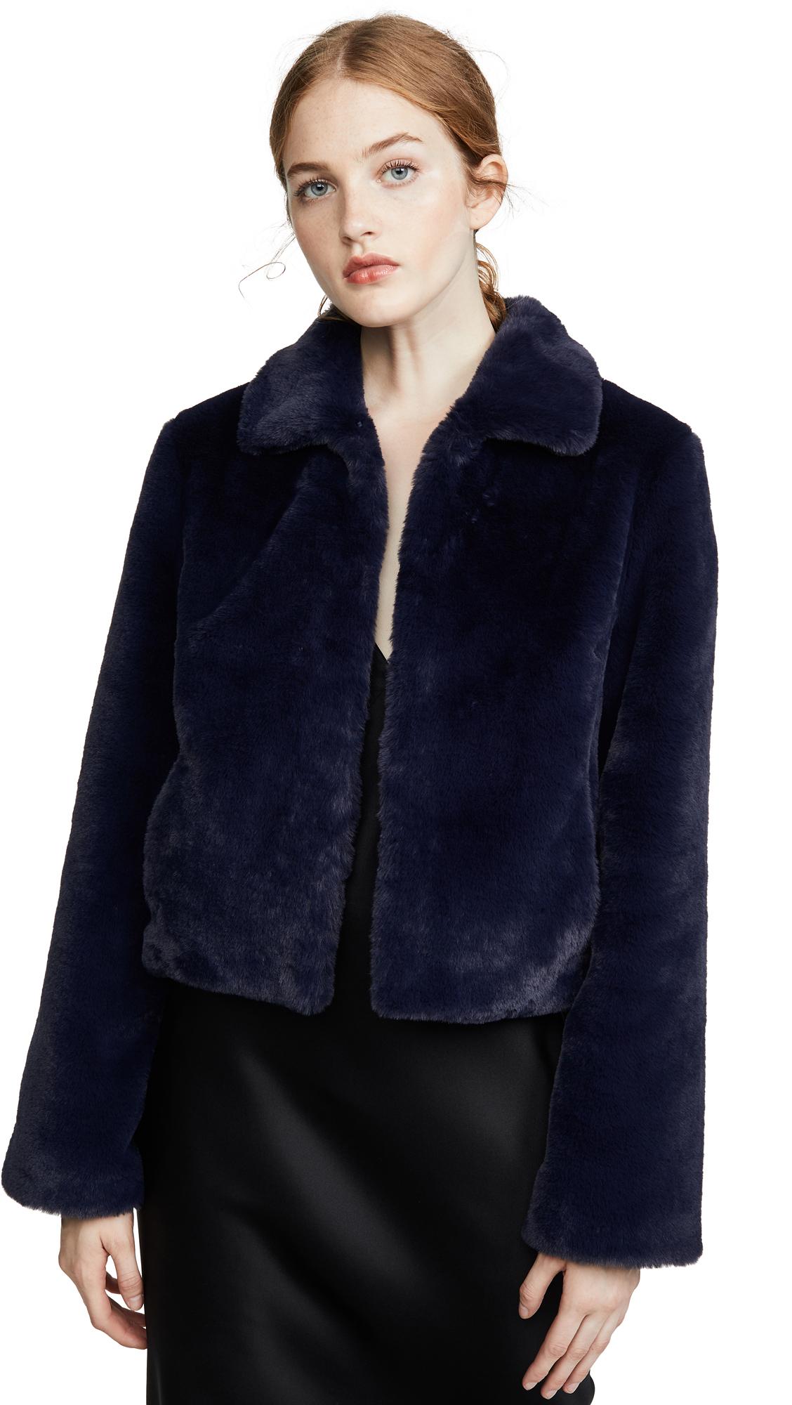 Adrienne Landau Short Faux Fur Jacket - Navy