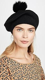 Adrienne Landau 绒球腈纶针织贝雷帽