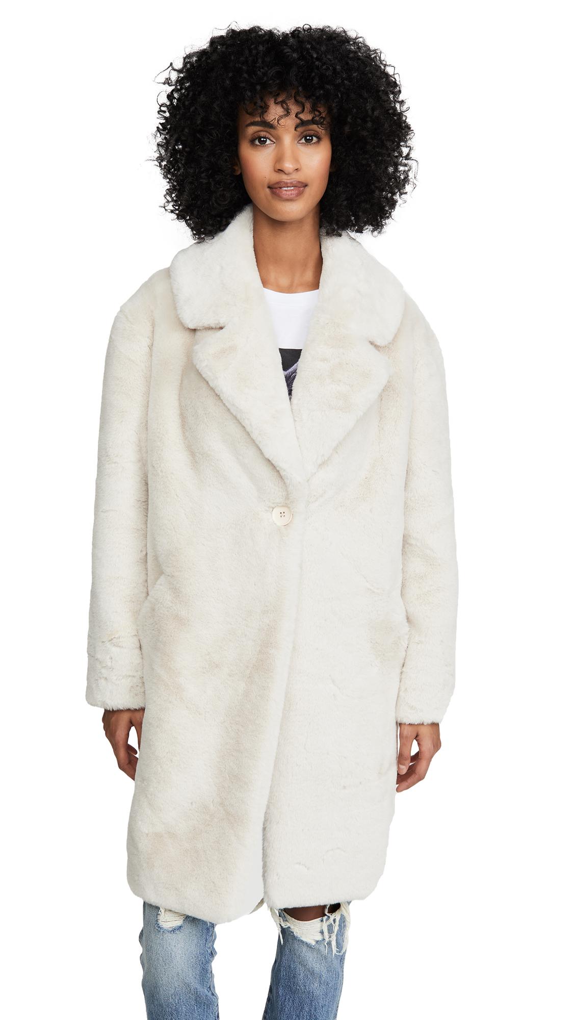 Adrienne Landau Faux Fur Tailored Jacket - Sand
