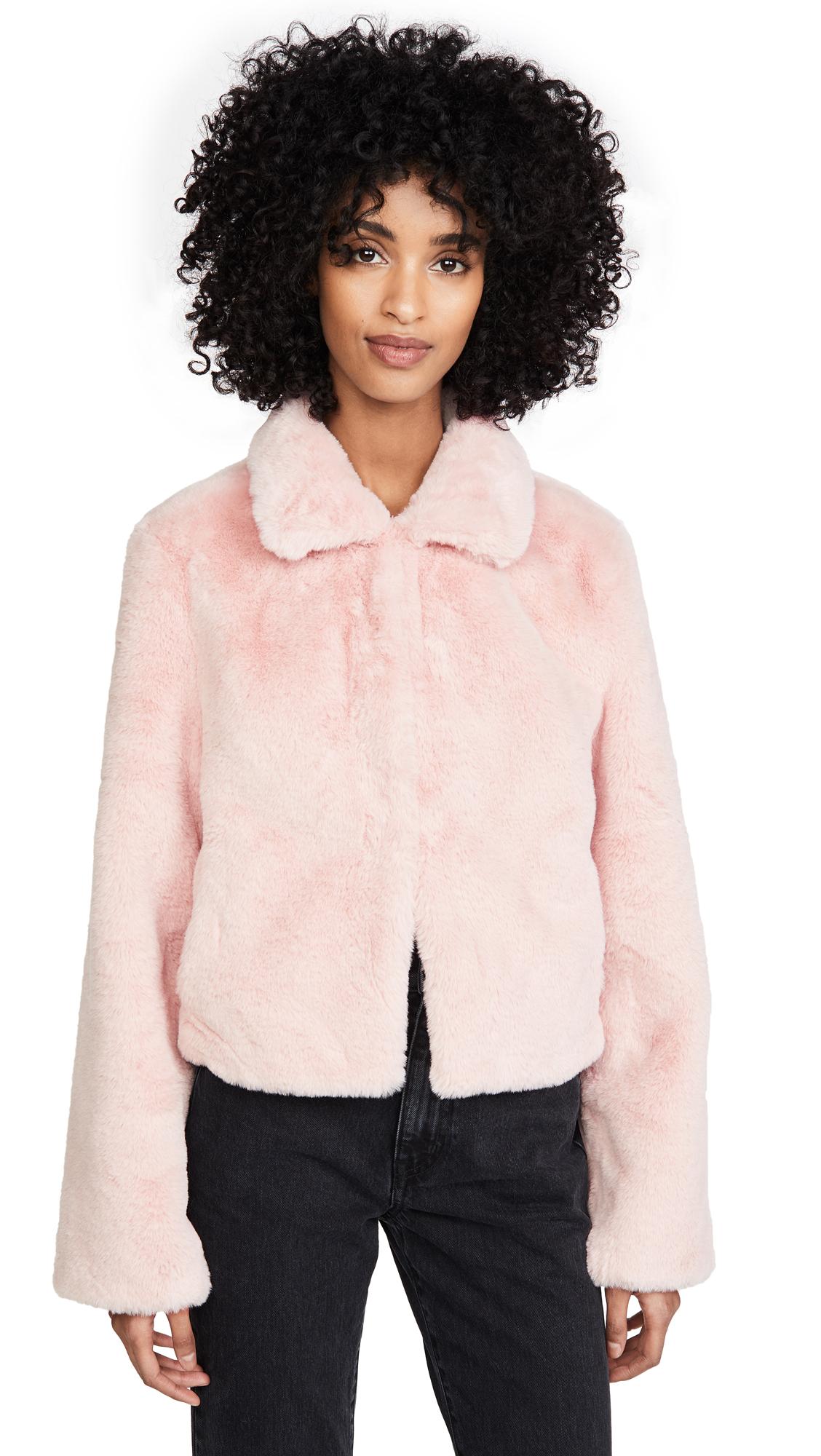 Adrienne Landau Short Faux Fur Jacket - Rose