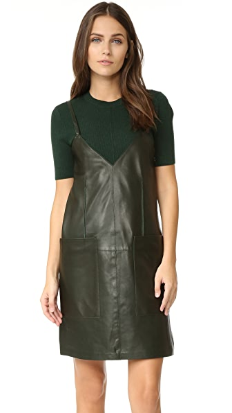 Aeron Leather Shift Dress - Dark Olive Green at Shopbop