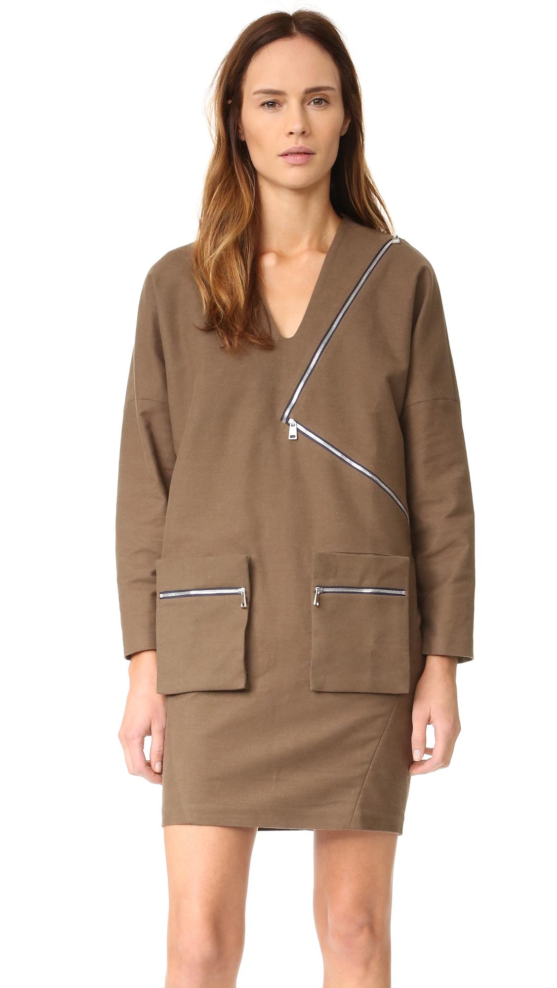 Aeron Zip Long Sleeve Dress - Dark Olive Green at Shopbop