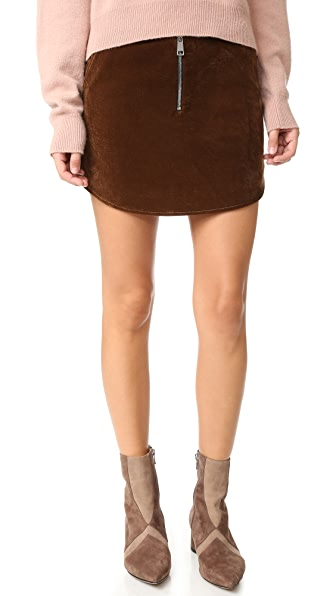 AERON Velvet Zip Miniskirt - Brown