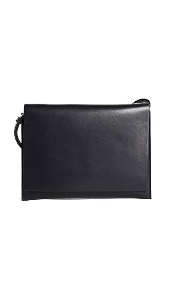 AESTHER EKME Leather Shoulder Bag In Ink Blue