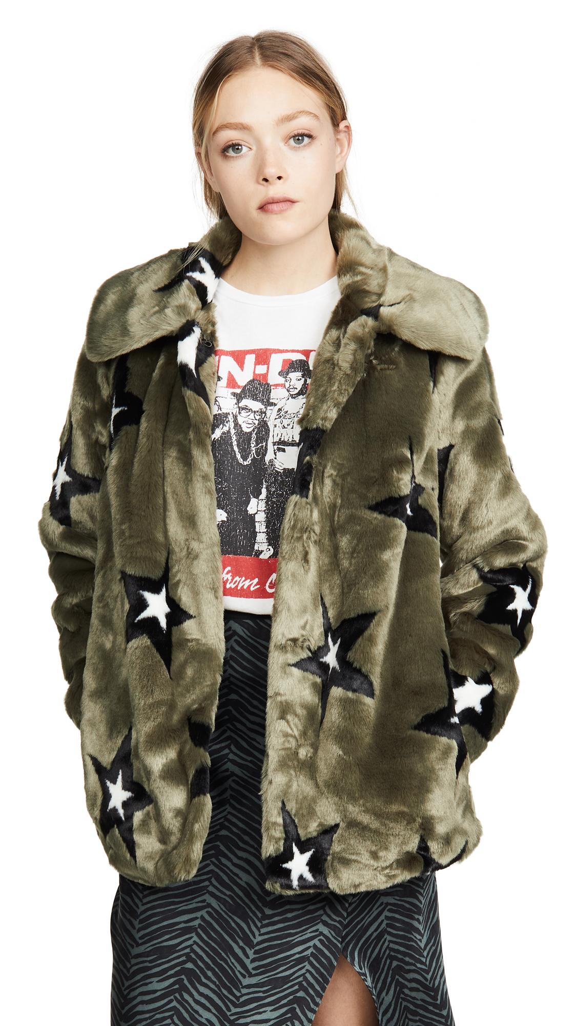 Buy Avec Les Filles Star Print Faux Fur Swing Coat online beautiful Avec Les Filles Clothing, Jackets