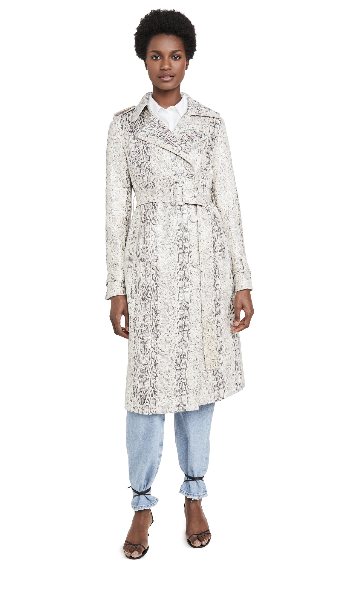 Buy Avec Les Filles Double Breasted Snake Print Trench online beautiful Avec Les Filles Jackets, Coats, Trench Coats