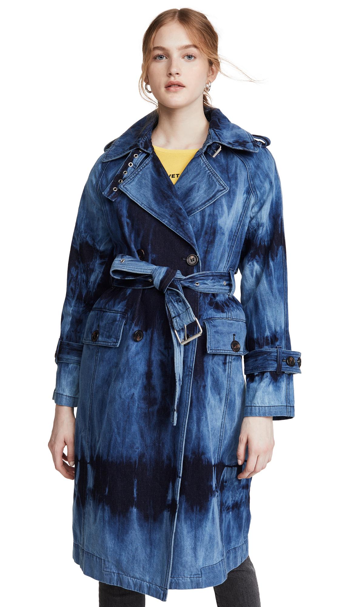 Buy Avec Les Filles online - photo of Avec Les Filles Tie Dye Washed Denim Trench Coat