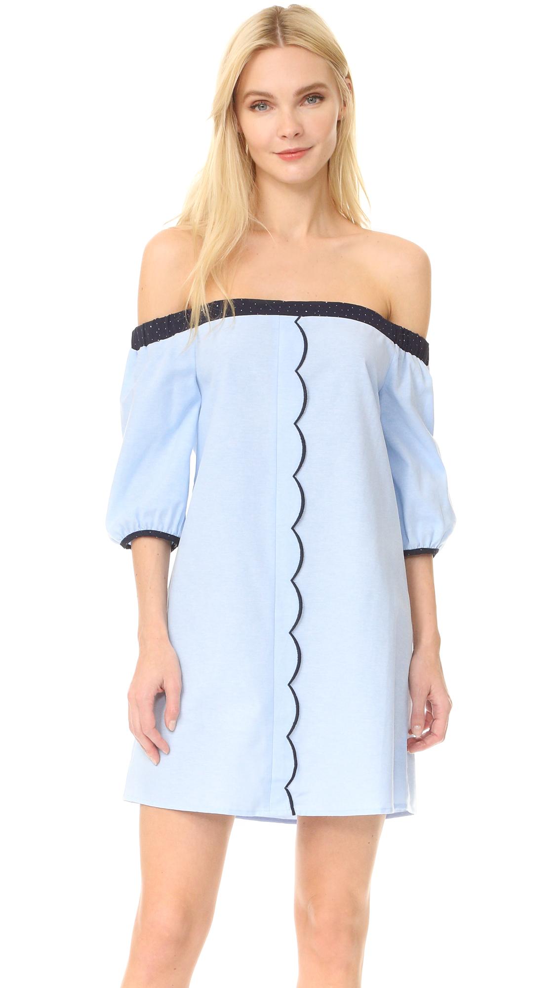 After Market Off Shoulder Dress - Blue Navy Combo at Shopbop