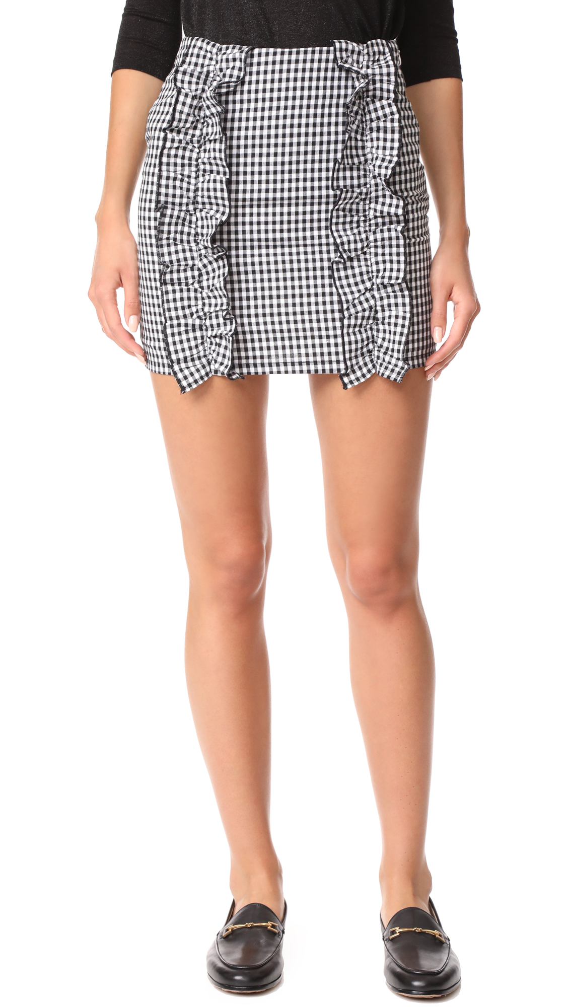 After Market Ruffle Mini Skirt - Black Gingham