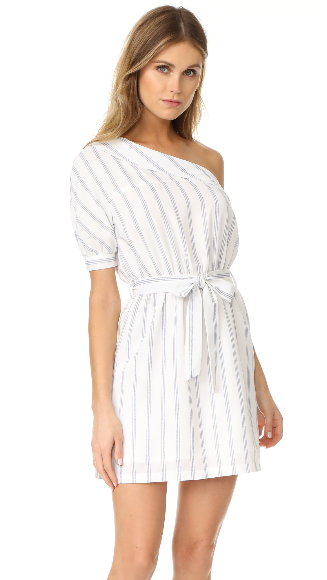 After Market One Shoulder Dress - White Combo