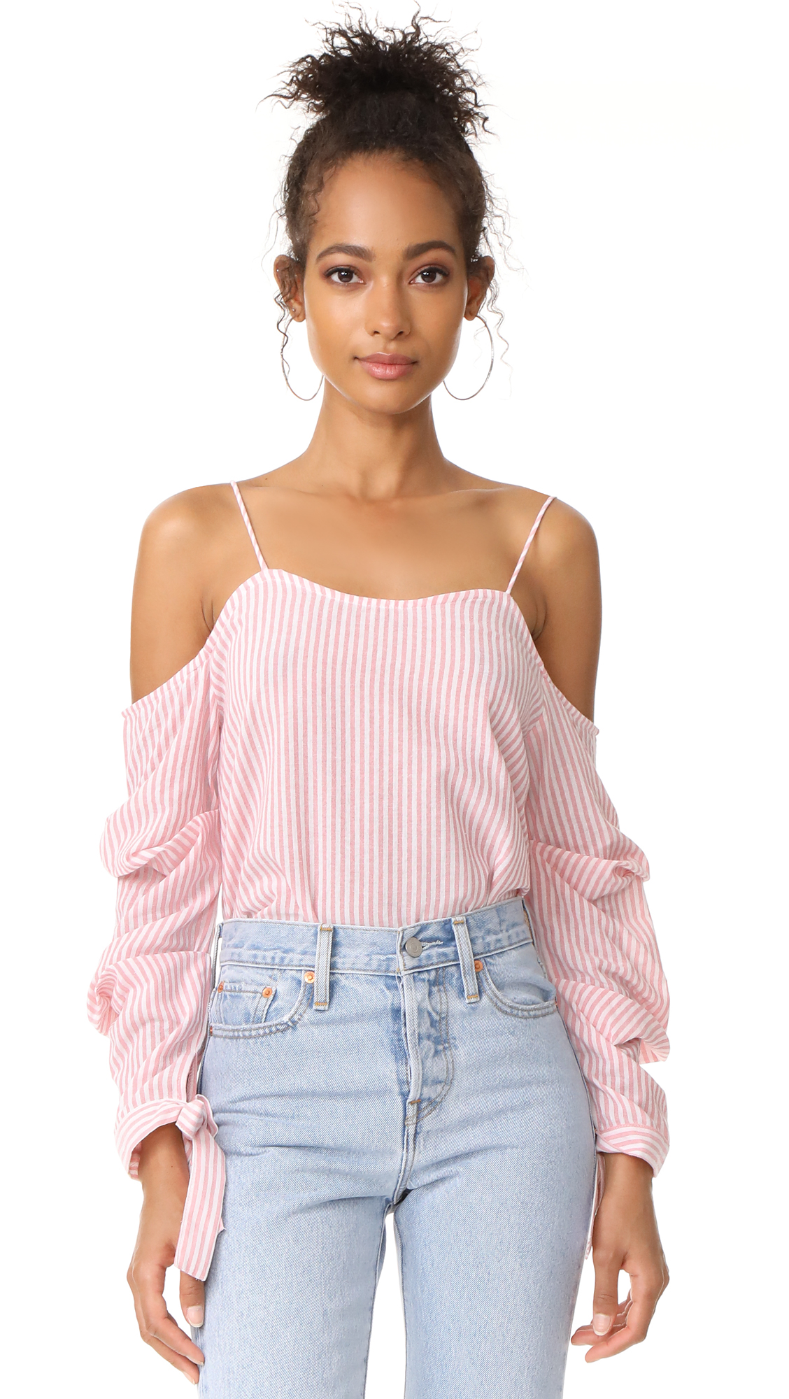 After Market Ruffle Sleeve Blouse - Peach White
