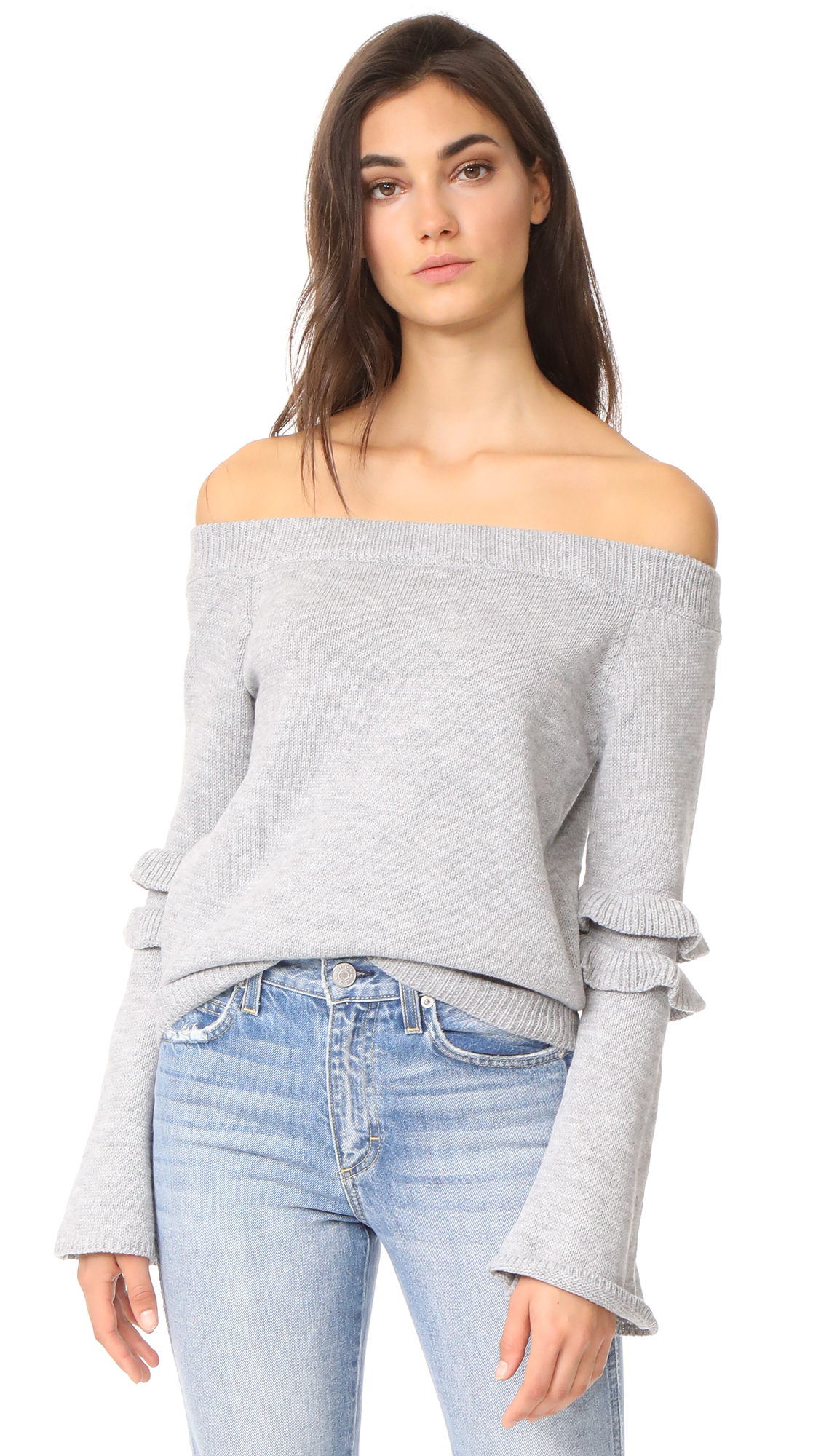 After Market Off Shoulder Ruffle Sweater - Grey