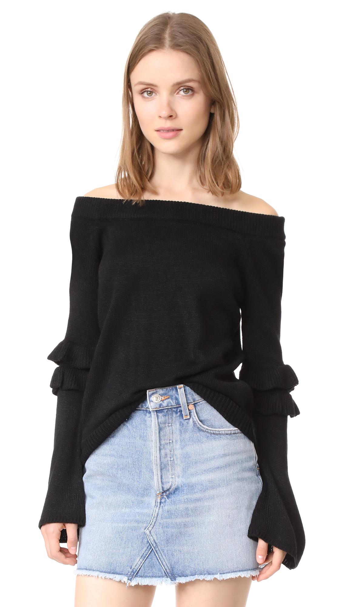 After Market Off Shoulder Ruffle Sweater - Black
