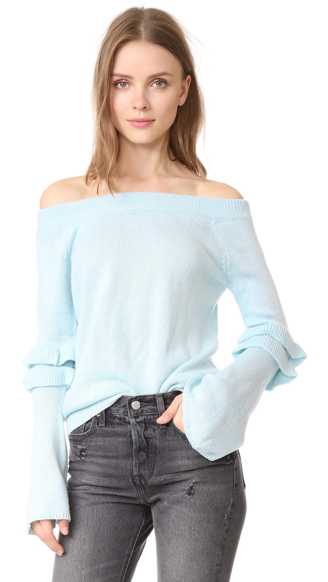After Market Off Shoulder Ruffle Sweater - Light Blue